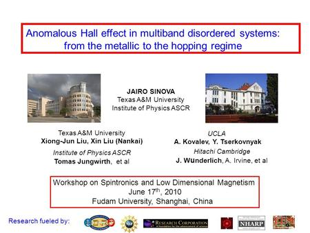 Anomalous Hall effect in multiband disordered systems: from the metallic to the hopping regime Workshop on Spintronics and Low Dimensional Magnetism June.