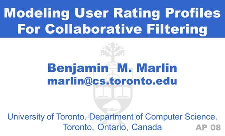 Modeling User Rating Profiles For Collaborative Filtering