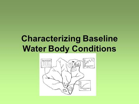 Characterizing Baseline Water Body Conditions. What? Confirm impairments and identify problems Statistical summary Spatial analysis Temporal analysis.