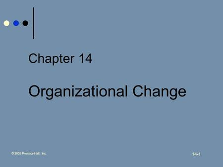 © 2005 Prentice-Hall, Inc. 14-1 Chapter 14 Organizational Change.