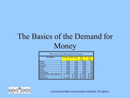 Lectures in Macroeconomics- Charles W. Upton The Basics of the Demand for Money.