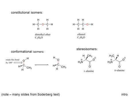 Intro constitutional isomers: conformational isomers: stereoisomers : (note – many slides from Soderberg text)