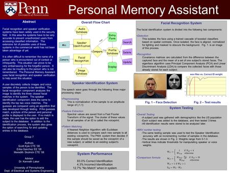 Fig. 2 – Test results Personal Memory Assistant Facial Recognition System The facial identification system is divided into the following two components: