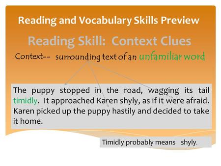 Reading and Vocabulary Skills Preview Context-- surrounding text of an unfamiliar word The puppy stopped in the road, wagging its tail timidly. It approached.