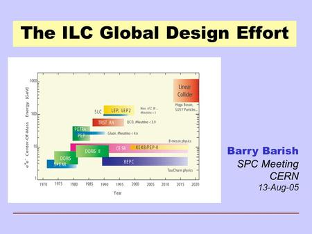 The ILC Global Design Effort Barry Barish SPC Meeting CERN 13-Aug-05.