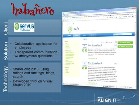 Client Solution Collaborative application for employees Transparent communication w/ anonymous questions Technology SharePoint 2010, using ratings and.