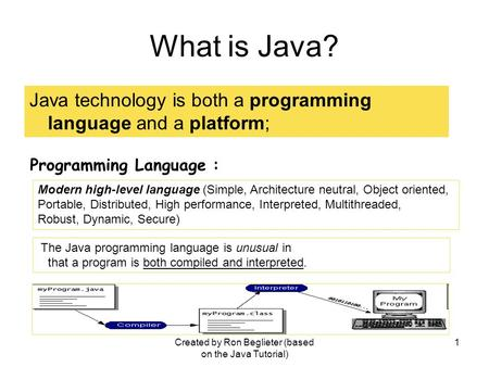Created by Ron Beglieter (based on the Java Tutorial) 1 What is Java? Java technology is both a programming language and a platform; Programming Language.