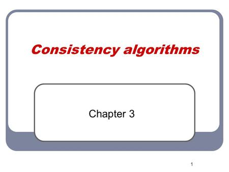 1 Consistency algorithms Chapter 3. Spring 2007 ICS 275A - Constraint Networks 2 Consistency methods Approximation of inference: Arc, path and i-consistecy.