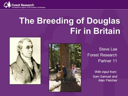 The Breeding of Douglas Fir in Britain Steve Lee Forest Research Partner 11 With input from: Sam Samuel and Alan Fletcher.