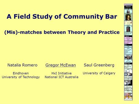 A Field Study of Community Bar (Mis)-matches between Theory and Practice Natalia Romero Gregor McEwan Saul Greenberg Eindhoven University of Technology.