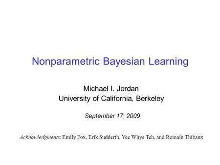 Nonparametric Bayesian Learning