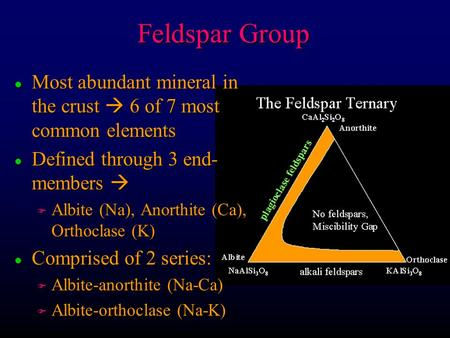 Feldspar Group Most abundant mineral in the crust  6 of 7 most common elements Defined through 3 end-members  Albite (Na), Anorthite (Ca), Orthoclase.