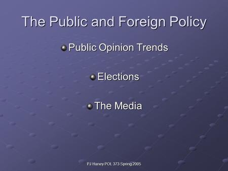 PJ Haney POL 373 Spring 2005 The Public and Foreign Policy Public Opinion Trends Elections The Media.