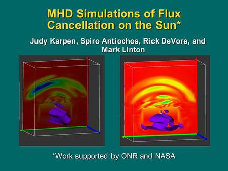 Judy Karpen, Spiro Antiochos, Rick DeVore, and Mark Linton MHD Simulations of Flux Cancellation on the Sun* *Work supported by ONR and NASA.