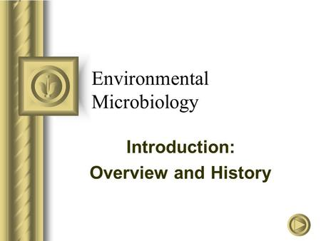 Environmental Microbiology Introduction: Overview and History.