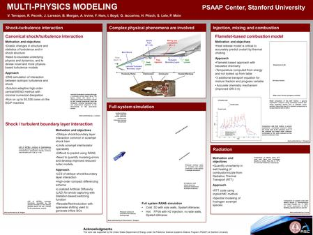 MULTI-PHYSICS MODELING PSAAP Center, Stanford University V. Terrapon, R. Pecnik, J. Larsson, B. Morgan, A. Irvine, F. Ham, I. Boyd, G. Iaccarino, H. Pitsch,