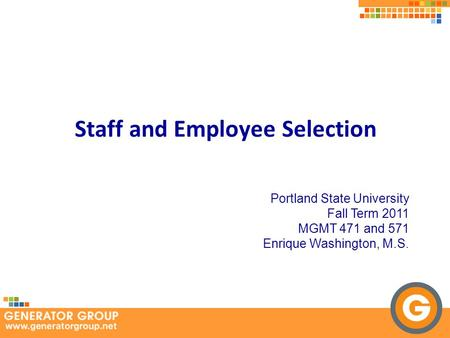 Staff and Employee Selection