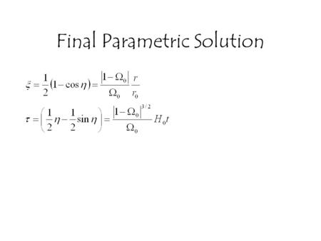 Final Parametric Solution. A Quick Overview of Relativity Special Relativity: –The manifestation of requiring the speed of light to be invariant in all.