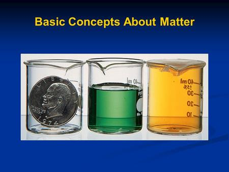 Basic Concepts About Matter. Chemistry and Matter Matter - anything that has mass and takes up space (has volume) What are some examples? Chemistry –