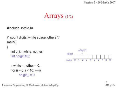 0 Arrays (1/2) #include /* count digits, white space, others */ main() { int c, i, nwhite, nother; int ndigit[10]; nwhite = nother = 0; for (i = 0; i <