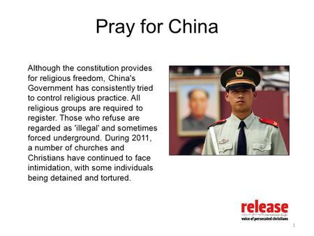 Pray for China Although the constitution provides for religious freedom, China's Government has consistently tried to control religious practice. All religious.