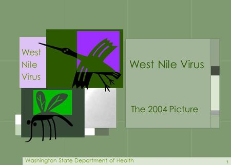 1 West Nile Virus Washington State Department of Health The 2004 Picture West Nile Virus.