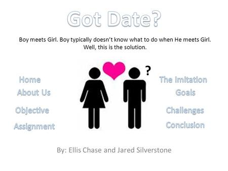 By: Ellis Chase and Jared Silverstone Boy meets Girl. Boy typically doesn't know what to do when He meets Girl. Well, this is the solution. ?