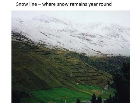 Snow line – where snow remains year round. Formation of Glacial Ice from Snow.