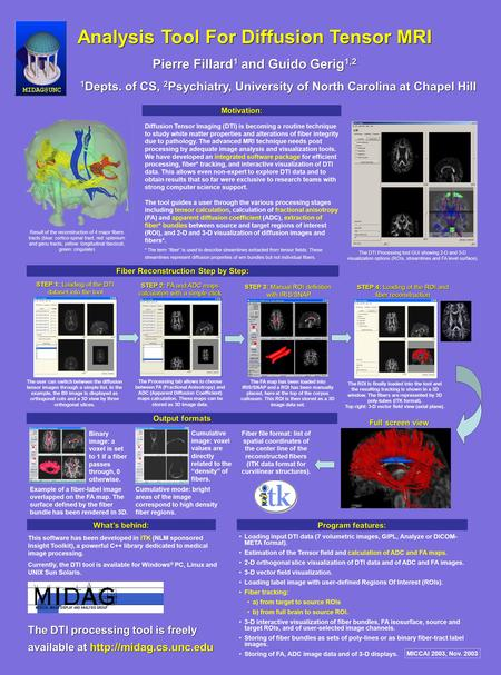 Diffusion Tensor Imaging (DTI) is becoming a routine technique to study white matter properties and alterations of fiber integrity due to pathology. The.