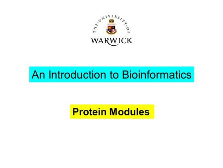 Protein Modules An Introduction to Bioinformatics.
