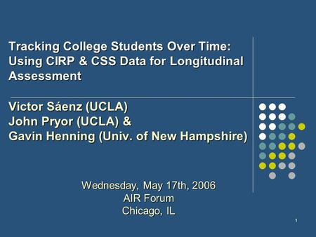 1 Tracking College Students Over Time: Using CIRP & CSS Data for Longitudinal Assessment Victor Sáenz (UCLA) John Pryor (UCLA) & Gavin Henning (Univ. of.