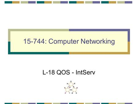 15-744: Computer Networking L-18 QOS - IntServ. QOS & IntServ QOS IntServ Architecture Assigned reading [She95] Fundamental Design Issues for the Future.