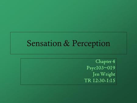 Sensation & Perception Chapter 4 Psyc103~019 Jen Wright TR 12:30-1:15.