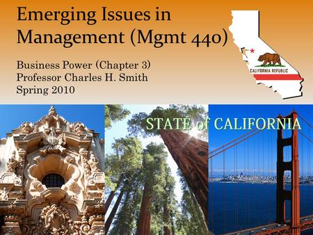 Emerging Issues in Management (Mgmt 440) Business Power (Chapter 3) Professor Charles H. Smith Spring 2010.