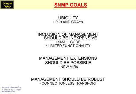 SNMP GOALS UBIQUITY PCs AND CRAYs INCLUSION OF MANAGEMENT SHOULD BE INEXPENSIVE SMALL CODE LIMITED FUNCTIONALITY MANAGEMENT EXTENSIONS SHOULD BE POSSIBLE.