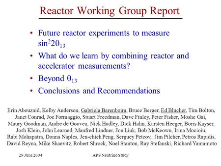Reactor Working Group Report