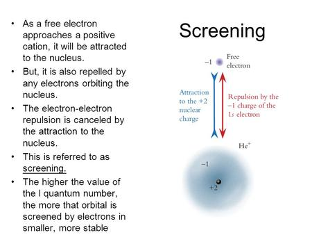 Screening As a free electron approaches a positive cation, it will be attracted to the nucleus. But, it is also repelled by any electrons orbiting the.