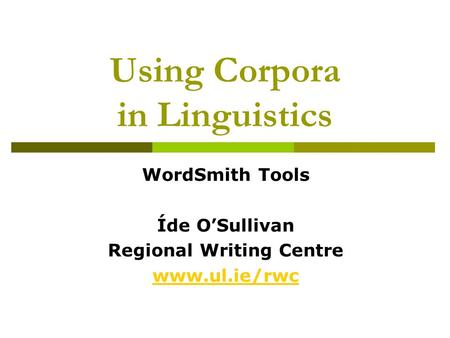 Using Corpora in Linguistics