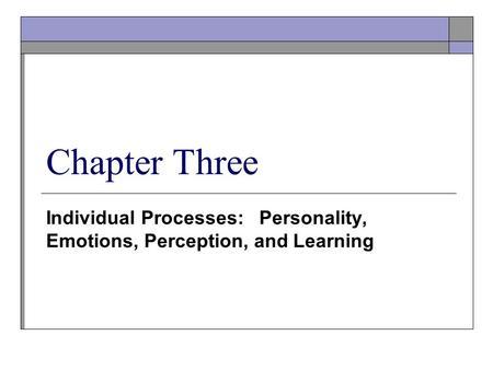 Learning & Individual Behavior