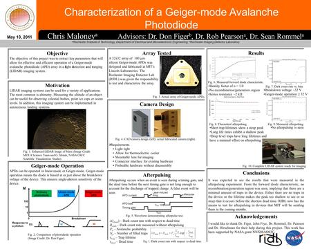 Characterization of a Geiger-mode Avalanche Photodiode a Rochester Institute of Technology, Department of Electrical and Microelectronic Engineering; b.