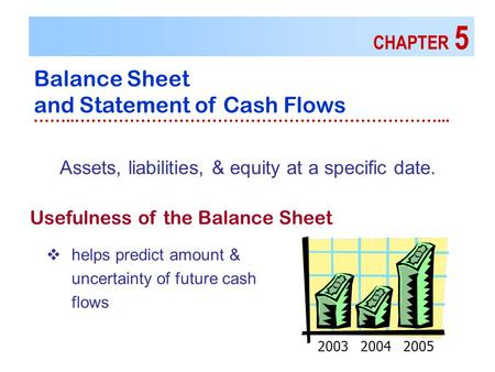 CHAPTER 5 Balance Sheet and Statement of Cash Flows ……..…………………………………………………………... Usefulness of the Balance Sheet Assets, liabilities, & equity at a specific.
