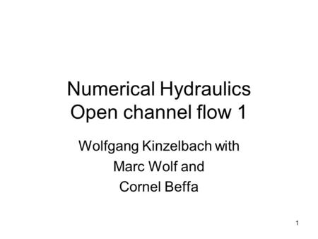 1 Numerical Hydraulics Open channel flow 1 Wolfgang Kinzelbach with Marc Wolf and Cornel Beffa.