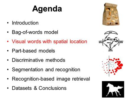 Agenda Introduction Bag-of-words model Visual words with spatial location Part-based models Discriminative methods Segmentation and recognition Recognition-based.