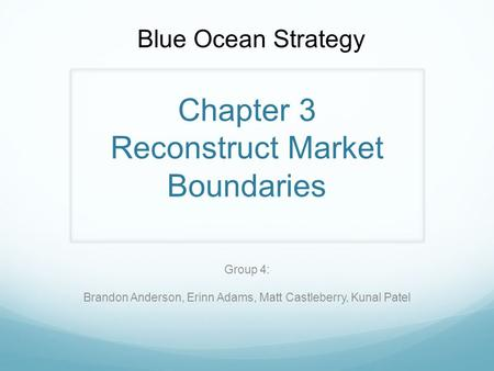 Chapter 3 Reconstruct Market Boundaries