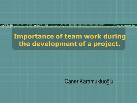 Caner Karamukluoğlu Importance of team work during the development of a project.