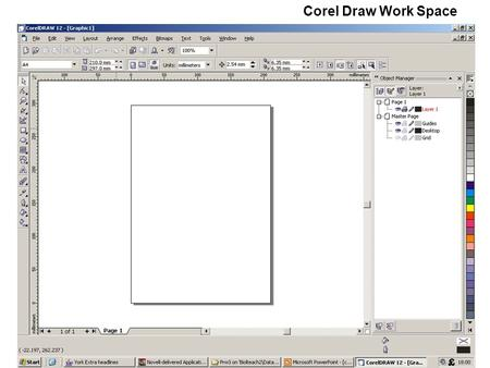 Corel Draw Work Space.