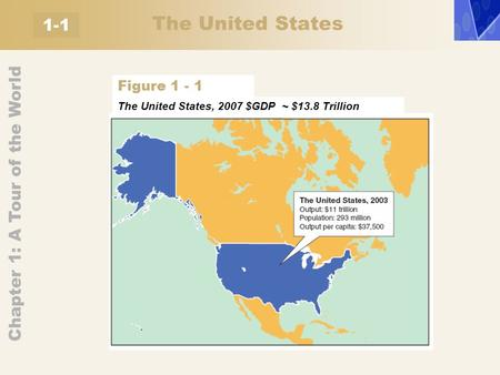 Chapter 1: A Tour of the World 1-1 The United States, 2007 $GDP ~ $13.8 Trillion Figure 1 - 1 The United States.