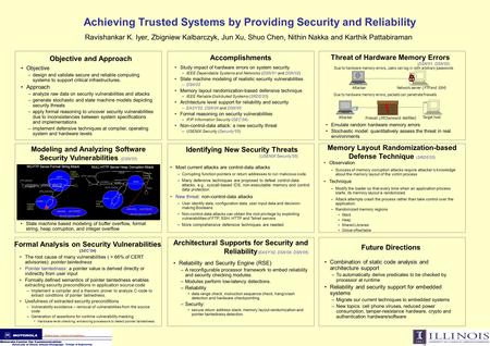 Achieving Trusted Systems by Providing Security and Reliability Ravishankar K. Iyer, Zbigniew Kalbarczyk, Jun Xu, Shuo Chen, Nithin Nakka and Karthik Pattabiraman.
