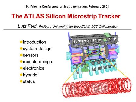 The ATLAS Silicon Microstrip Tracker introduction system design sensors module design electronics hybrids status Lutz Feld, Freiburg University, for the.