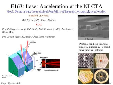 Project Update 5/9/06 E. Colby, E163 E163: Laser Acceleration at the NLCTA Goal: Demonstrate the technical feasibility of laser-driven particle acceleration.